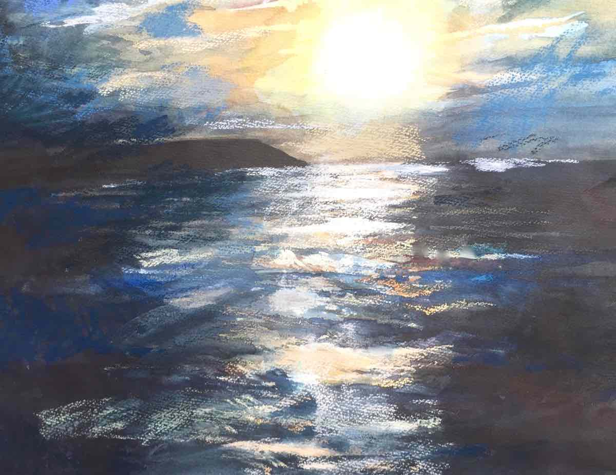 Moon over the sea by Rebecca Creedy Smith
